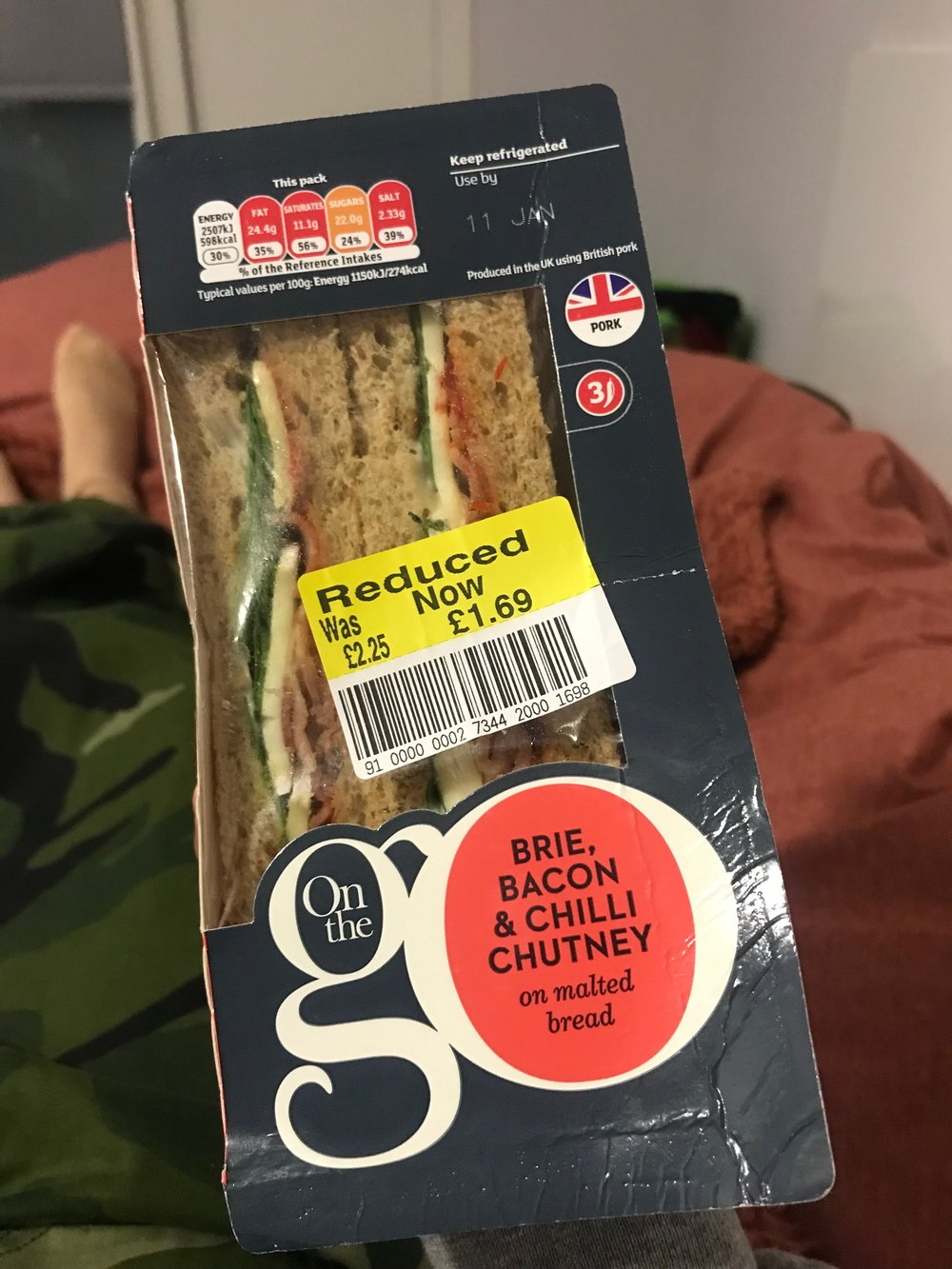 Marked down sandwich from Sainsbury's.