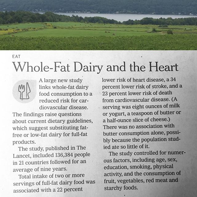 Eat up, friends.  #eatwholefoods #eatrealfood #eatdairy #realdairy #readingisfun #nytimes #notfailing