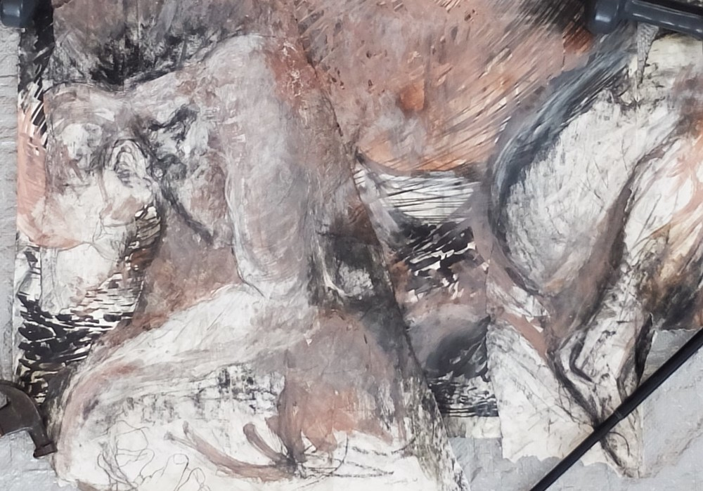 "study/composite, 25.5""x34"", charcoal, ink, gesso, clay/slip, oil"