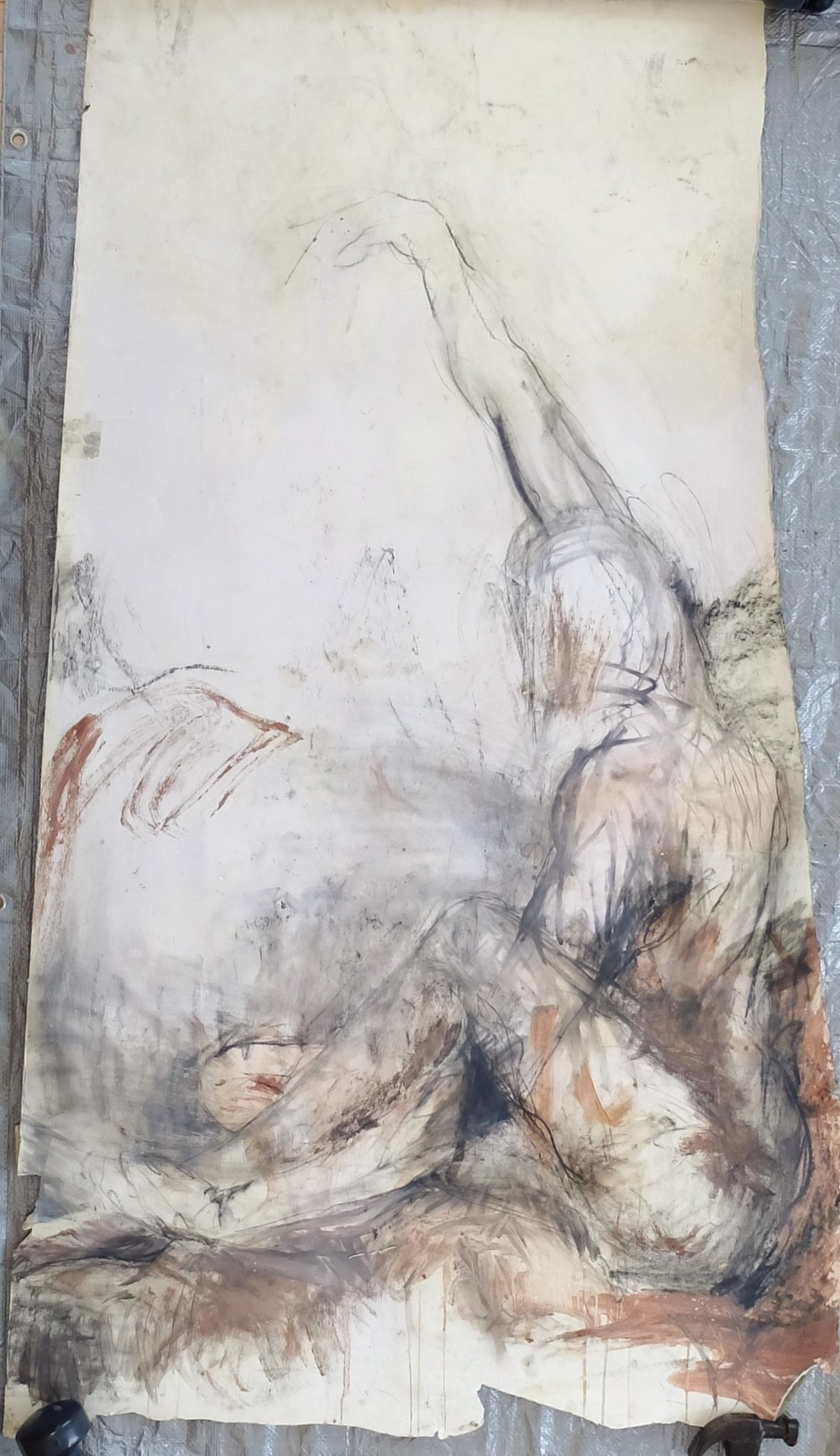 "31""x66"", charcoal, clay/slip, chalk on paper"