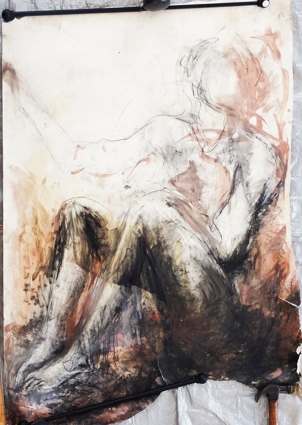 "38""x55"", charcoal, clay/slip, chalk, and oil(olive) on paper"