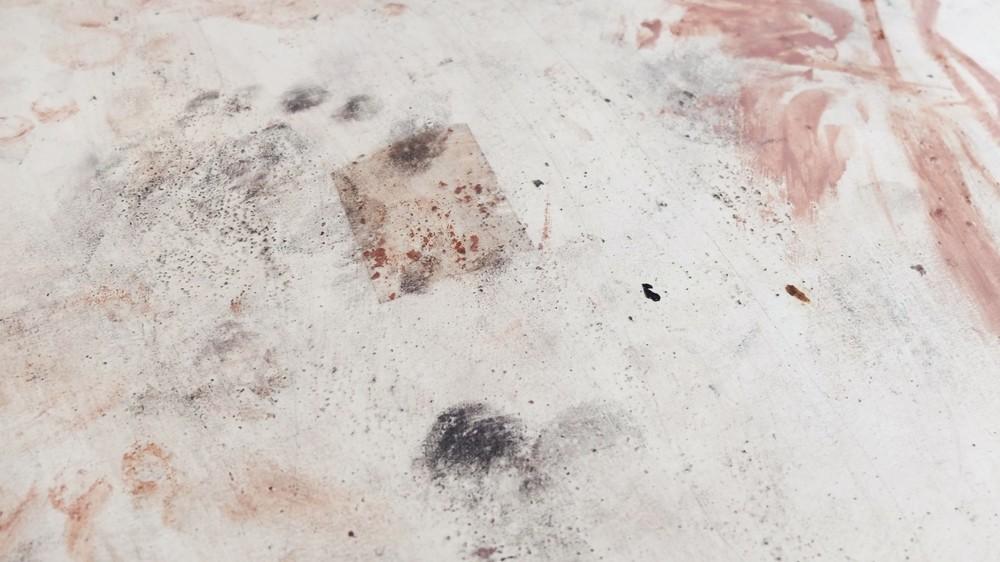 detail,  footprint, clear tape