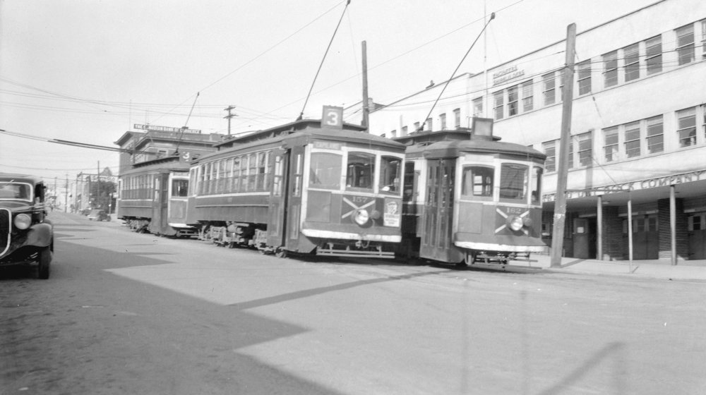 An example of where the posters might have been advertised. There aren't many photos of streetcars in the 20's to be found online - in this image, you can see the rectangular frames on the front of the car where posters could be placed; in this photo, only one is being used. courtesy City of Vancouver Archives.