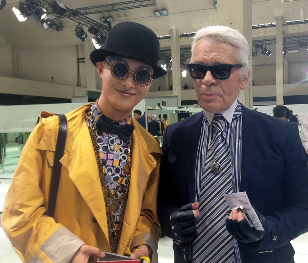 Peter with Karl Lagerfeld