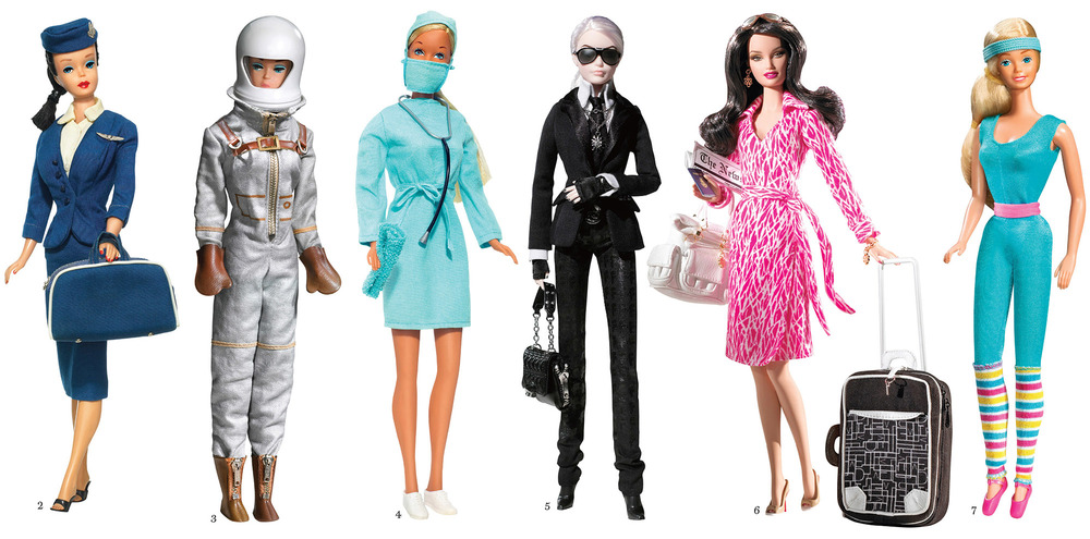 2-7. Barbie in various guises, including:    a flight attendant (1961); an astronaut    (1965); a surgeon (1973); her takes on    Karl Lagerfeld and Diane von Furstenberg;    and an aerobics instructor (1984)