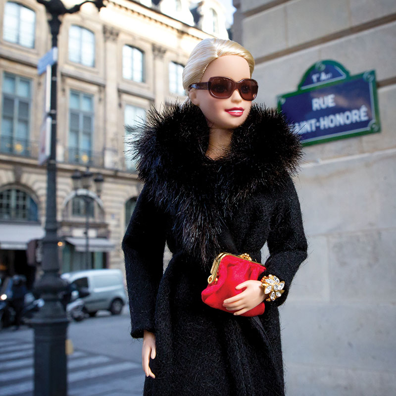 10. Barbie struts down the Rue Saint-Honoré in Paris