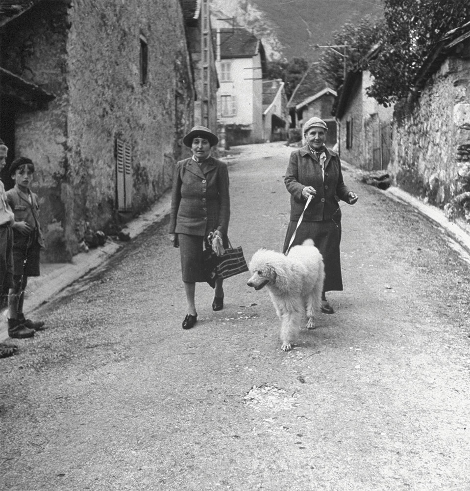 Gertrude Stein and her life partner, Alice B Toklas, walking their dog