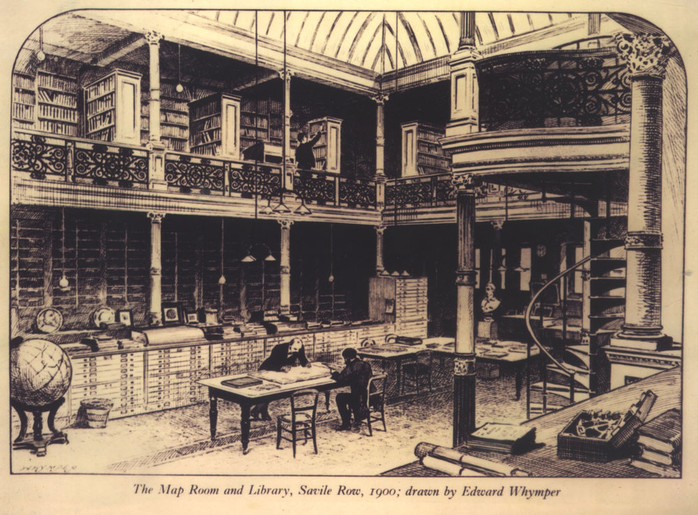 The map room and library in No. 1 Savile Row, 1900 as drawn by Edward Whymper