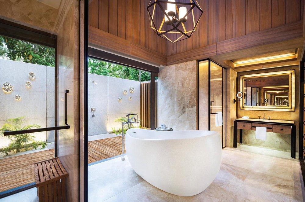 The elegant bathroom inside the beach villa