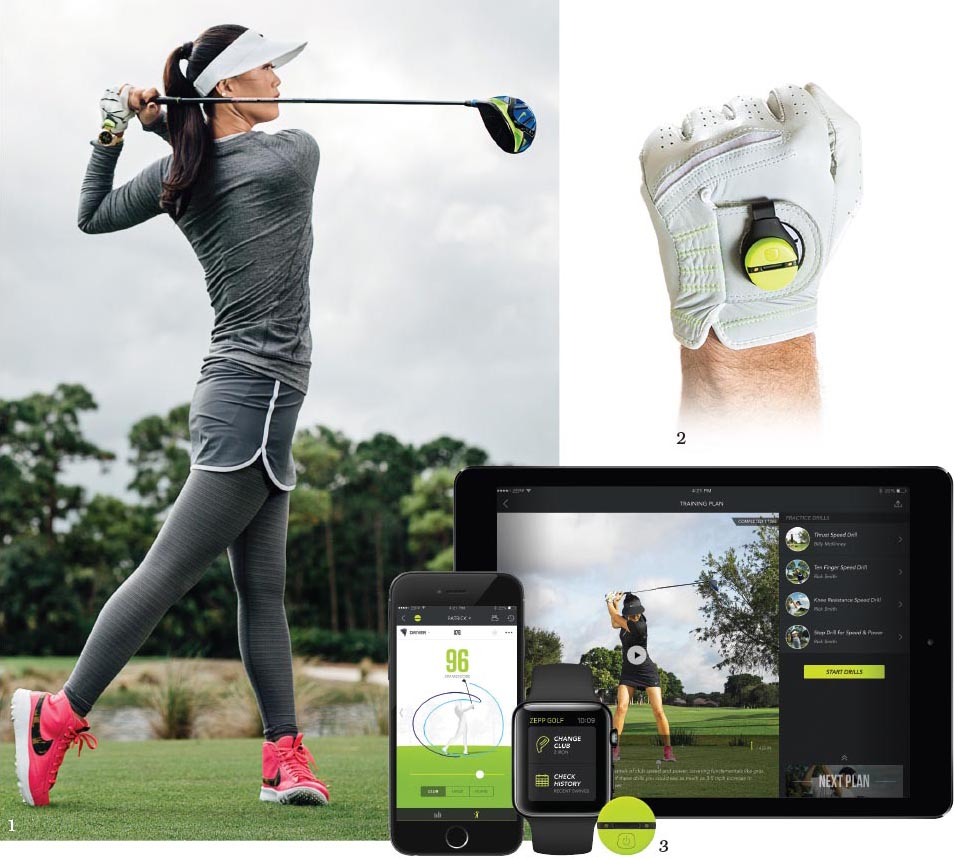 1. Korean American golfer Michelle Wie; 2-3. The Zepp Golf 2 device analyses all aspects of your game