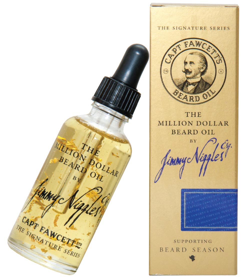 Jimmy Niggles Esq. The Million Dollar Beard Oil by Captain Fawcett     Handmade in small batches, the ultimate luxury secret is the flakes of 23-karat gold… enjoy your million-dollar beard!