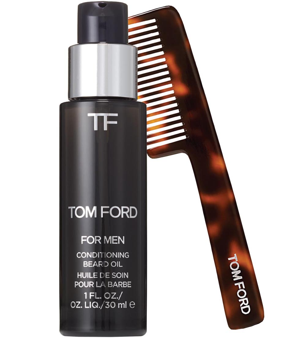 Tom Ford Beauty Men's Grooming Products     The designer sports a nice beard himself, so it's no surprise that he's got his own line of facial hair products, including beard oils (in three scents), shave oil, aftershave balm and a beard comb.