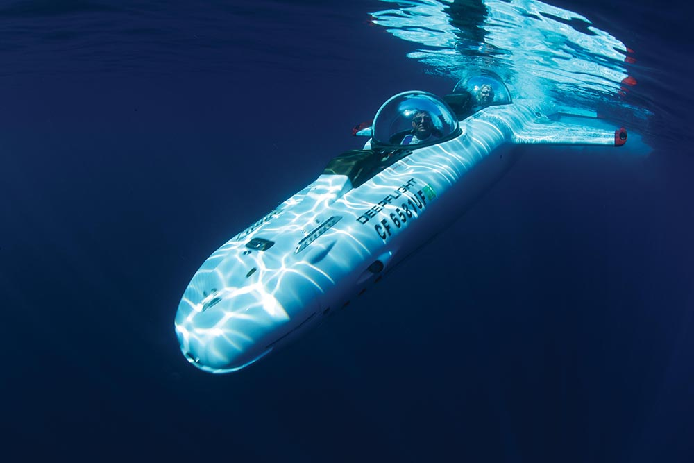 The inimitable Richard Branson dives deep in his customised DeepFlight submarine