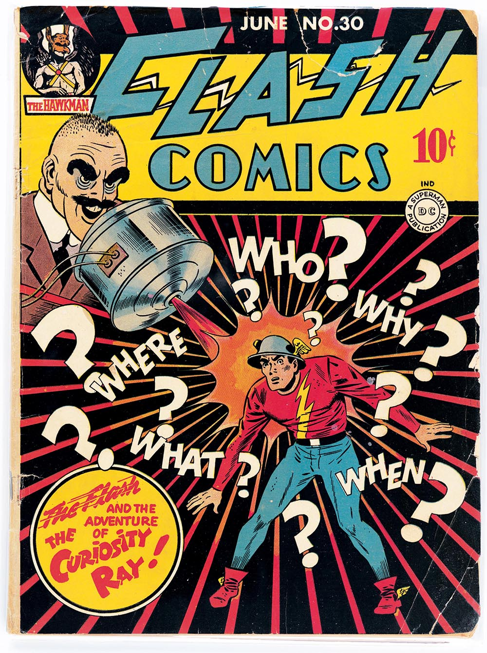 Flash Comics No. 30 cover art by EE Hibbard, June 1942