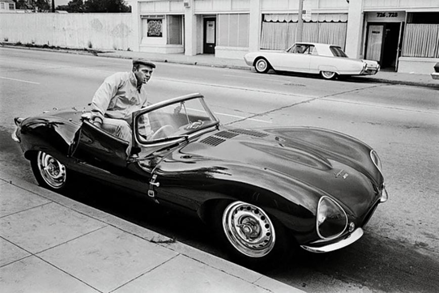 Actor Steve McQueen with his iconic 1956 Jaguar XK-SS