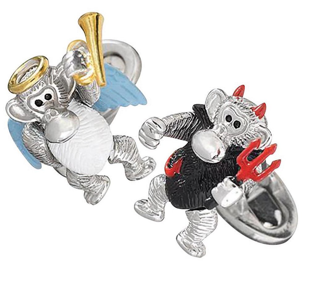 Moving Monkey Angel and Devil<br> cufflinks, Jan Leslie