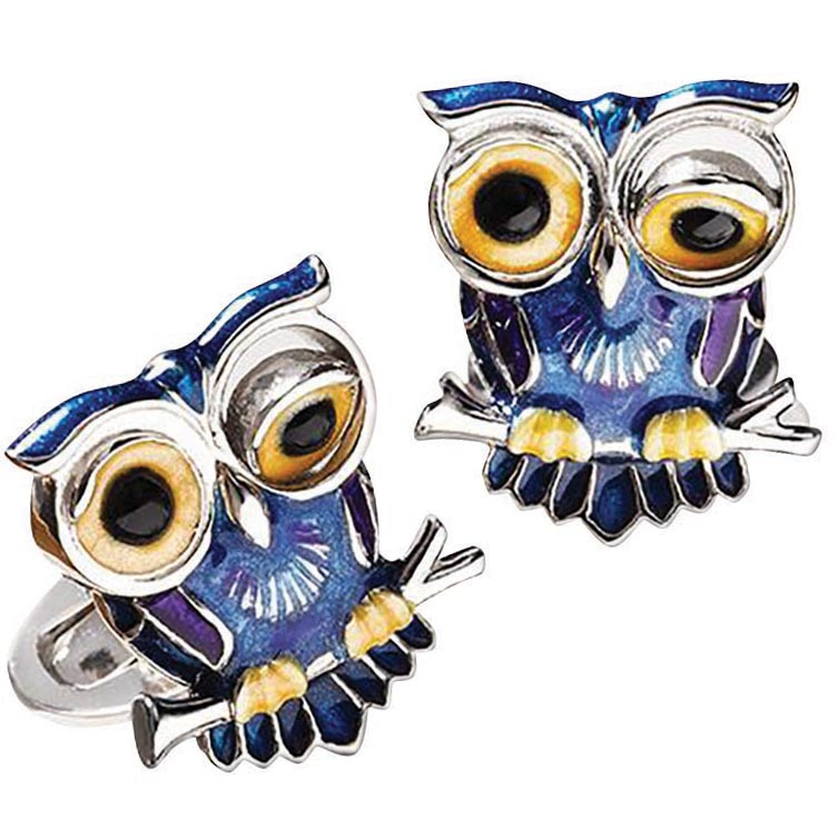 Winking Owl enamel <br>cufflinks, Jan Leslie