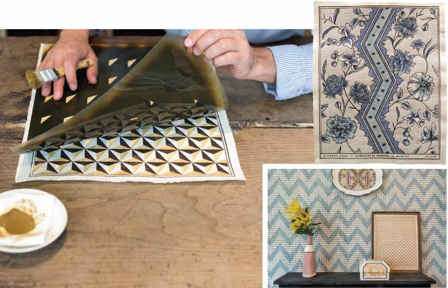Following traditional 18th-century techniques, the French workshop Antoinette Poisson (the name of the Marquise de Pompadour) brings new life to the cosy and rustic charm of dominos
