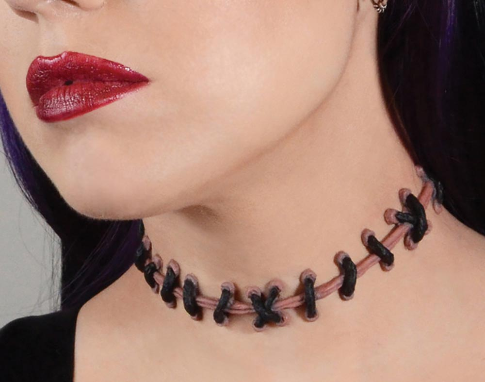 Frankenstein monster zombie<br> stitch choker in Natural Flesh 2, <br>Von Erickson Laboratories