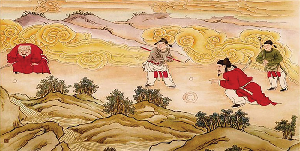 A mural painting of Yuan dynasty-era chuiwan is preserved on the wall of a Water God Temple in Hungtung County, Shanxi Province. The painting depicts a Mongolian official (on the left, wearing a fur hat), Han officials and assistants. The sticks and devices are fairly identical to those of modern golf