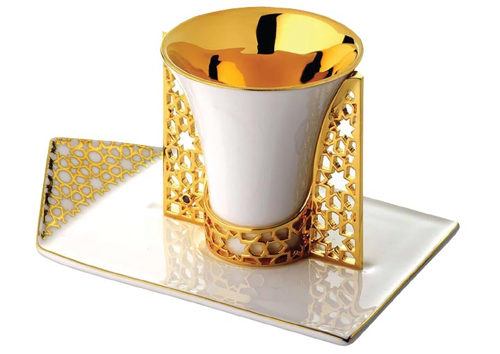 Arabesque gold-plated espresso cup holder and saucer, Merdinger.jpg