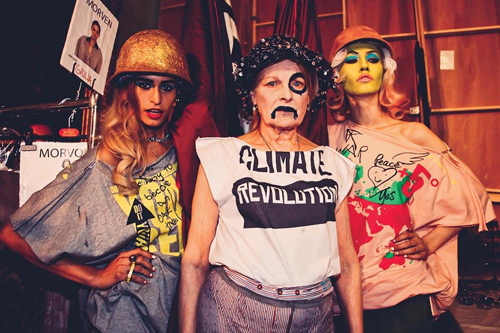Vivienne Westwood protesting backstage
