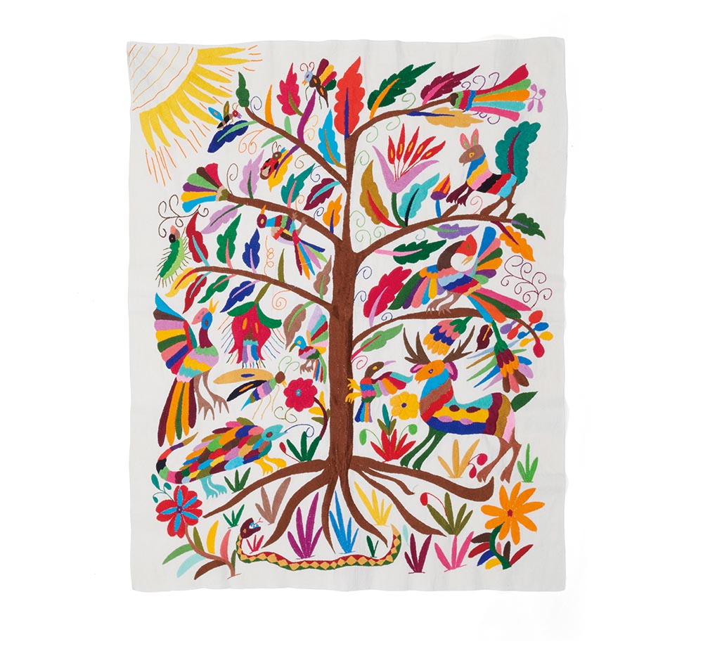 Otomi embroidered wall hanging made in Mexico, V&A