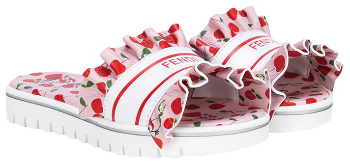 Ruffle print slippers, Fendi Kids