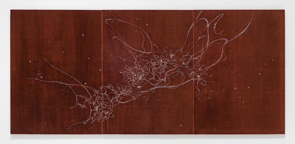 Lee Bul,  Untitled (Mekamelencolia – Velvet #3 DDRG29AC) , 2017, human hair, mother-of-pearl pigment, acrylic paint, and dried flower on silk velvet triptych, 137.8cm x 296cm x 12cm (framed)