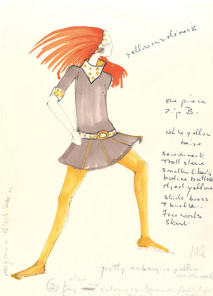 Design for a cowl neck minidress with mustard-yellow tights by Mary Quant, circa 1967