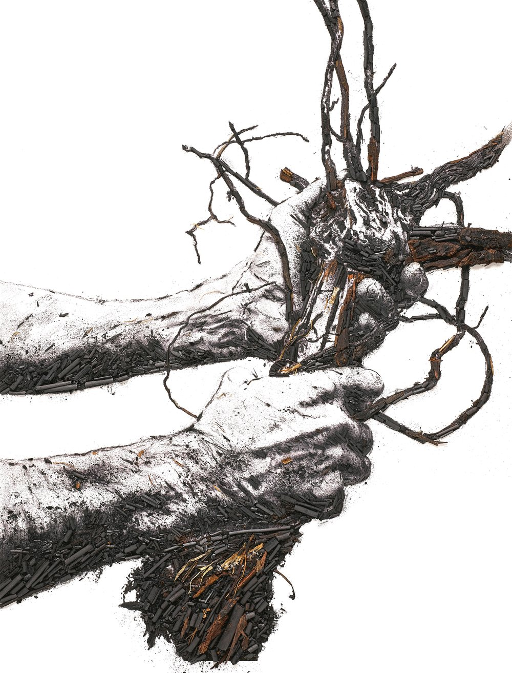 Flow Hands , one of the works created by Vik Muniz as part of his Ruinart collaboration