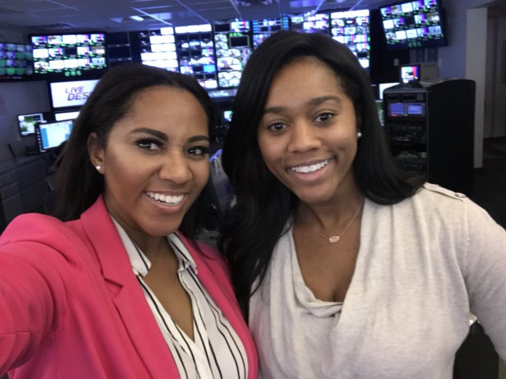 Kay Angrum (left) with NBC4 Washington sports anchor-reporter Sherree Burruss (right).