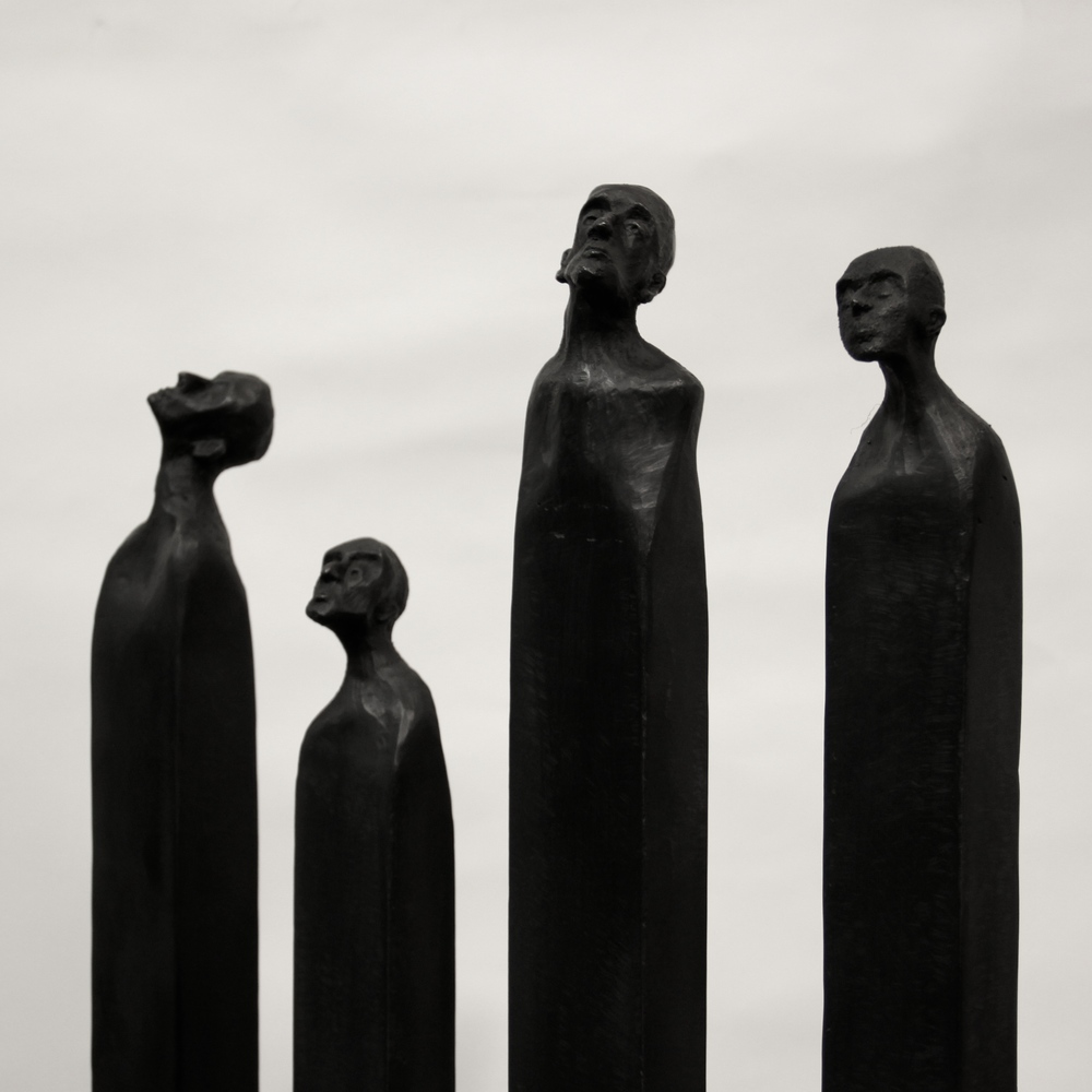 "Four Heads, 52x24x9"" Bronze, 2016 (Edition of 3)"