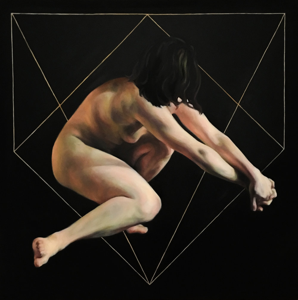 "Cut, Oil on Canvas, 30x30"", 2017"