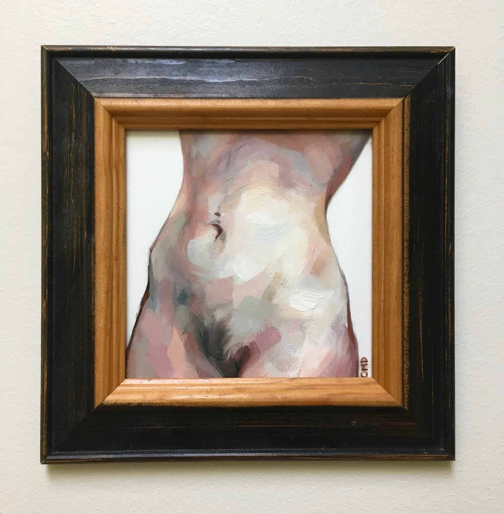 "Navel, Oil on Glass, 7.5x7.5"", 2018"