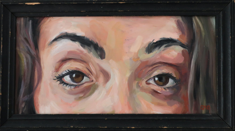 "To Meet your Gaze, Oil on Glass, 6.5x11.5"", 2017"