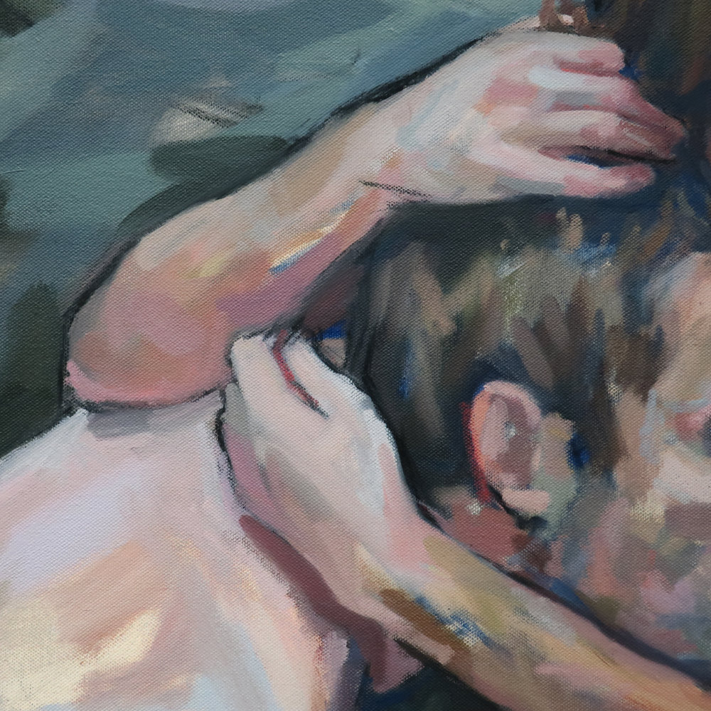 Hold (Detail), 2018, Oil on Canvas, 30x30""