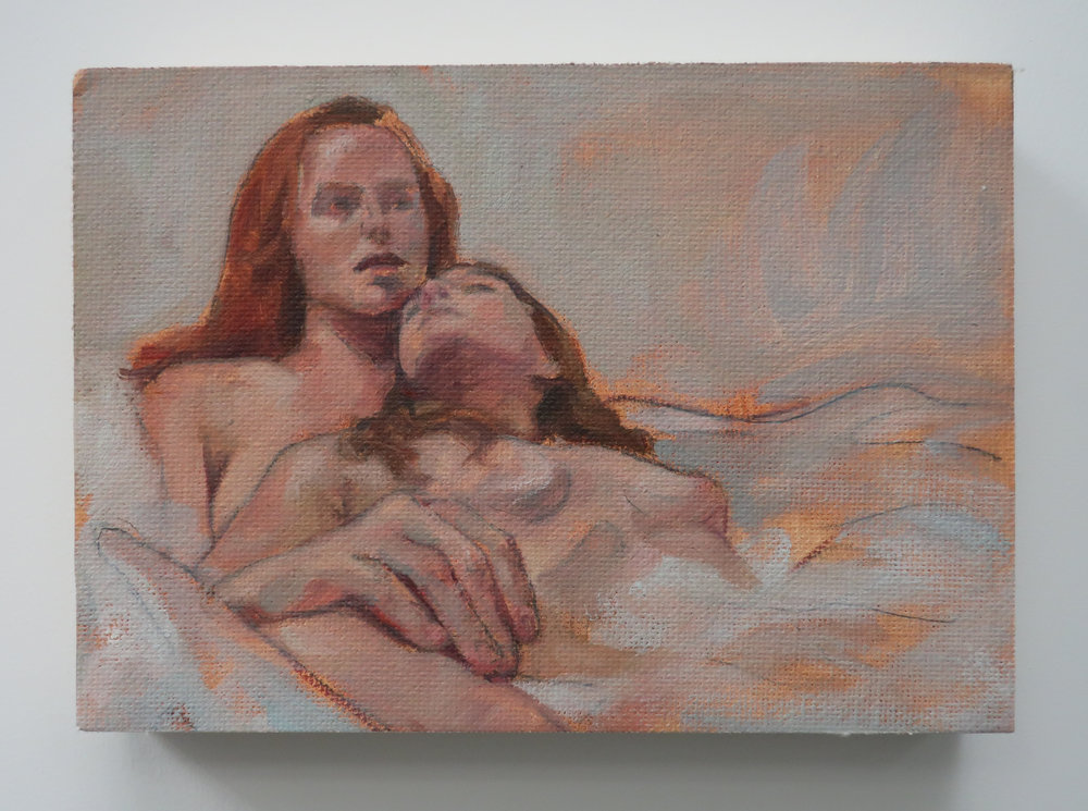 Bath Study, 2018, Oil on Canvas, 5x7""