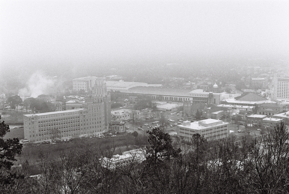 View of Hot Springs from West Mountain on a foggy day