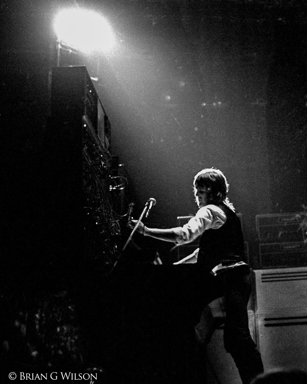 Keith Emerson at the mighty Moog monolith, April 1974.