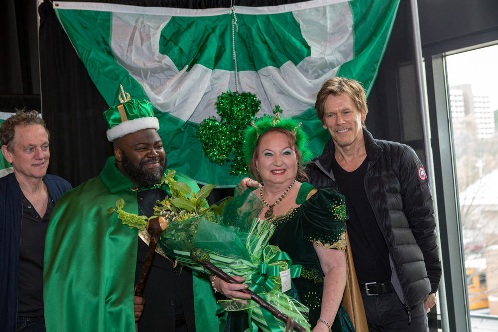 Michael and Kevin Bacon with the King and Queen of the St Patrick's Day Parade