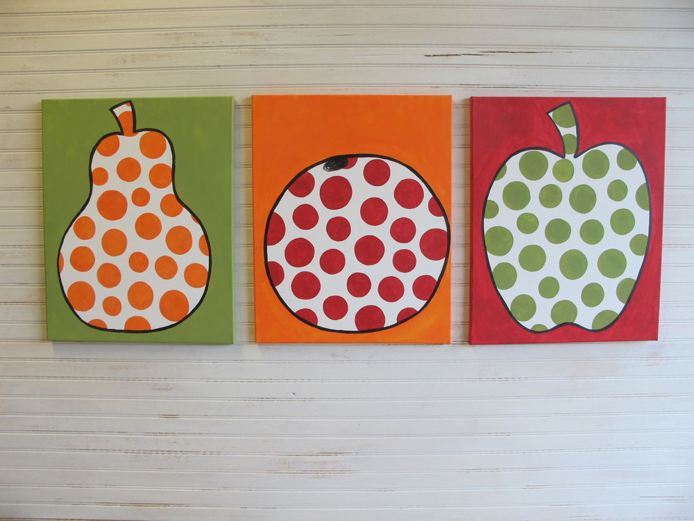 16x20 Polka Dot Fruit Set - $120