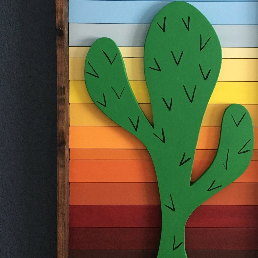 Kitsy Co Cactus Wood Art