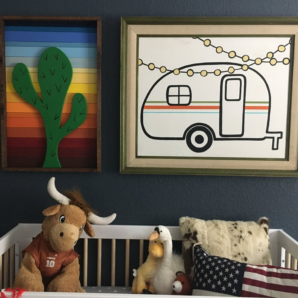 Kitsy Co Custom Wood Art_Eclectic Baby Room