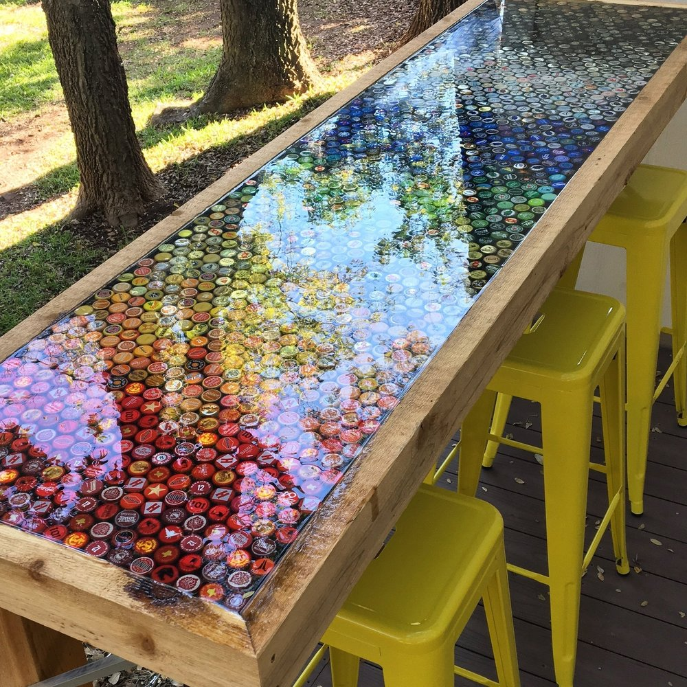 Kitsy Co Austin Custom Projects_Bottle Cap Bar Top