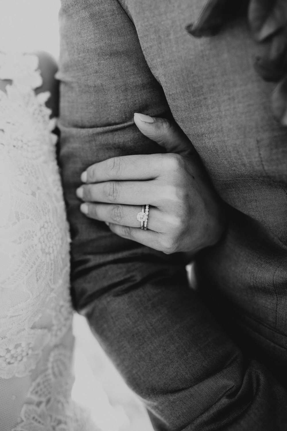 Black and white wedding rings on Oahu