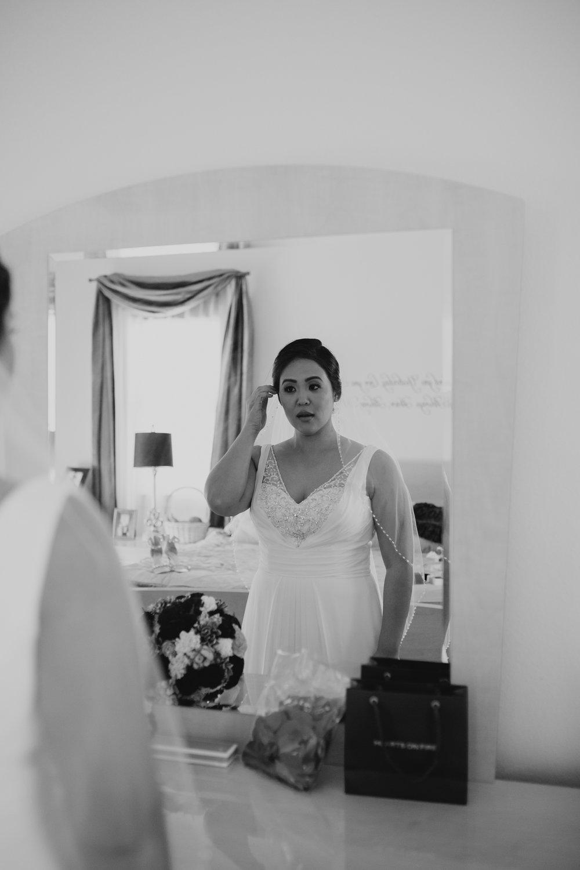 Black and white wedding mirror reflection