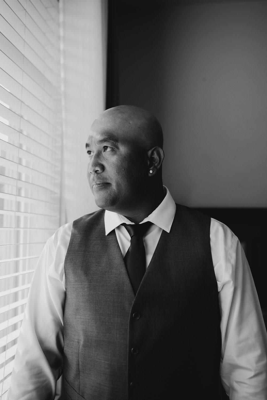 Black and white groom photo