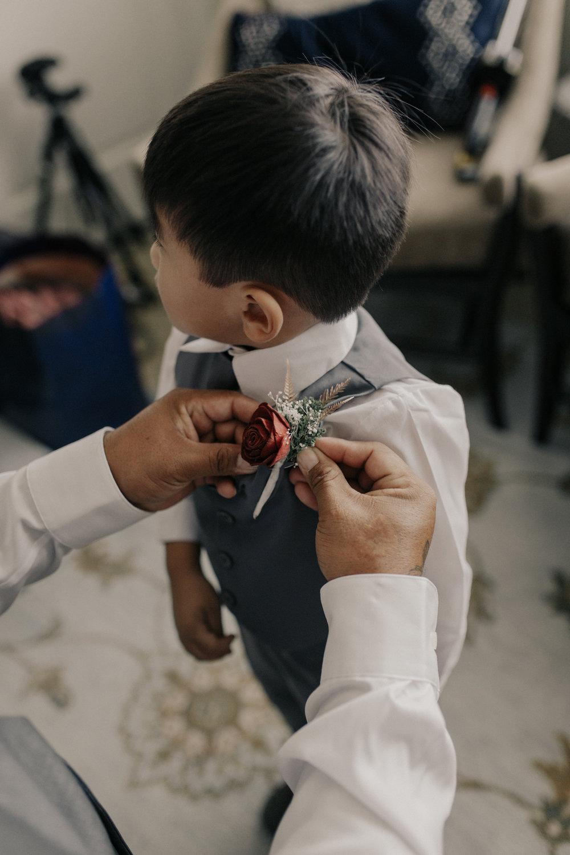 Father son getting ready wedding photo
