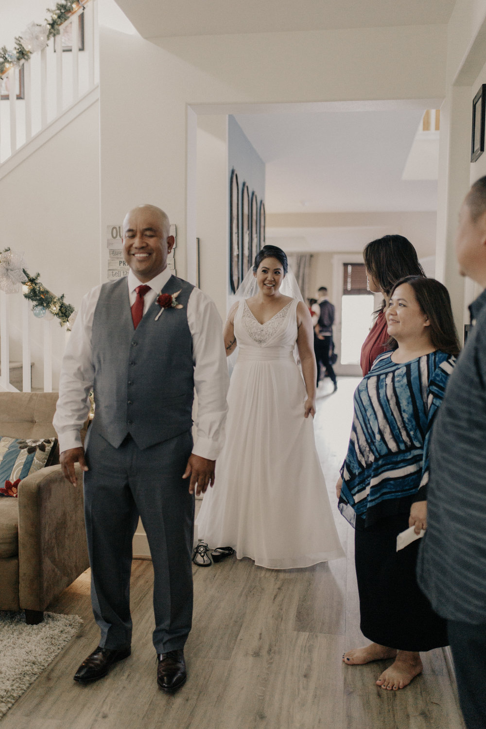 In home first look wedding